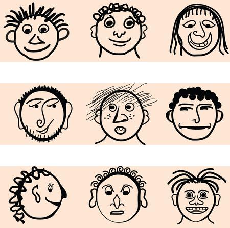 Nine cartoon style faces Stock fotó - 68284846