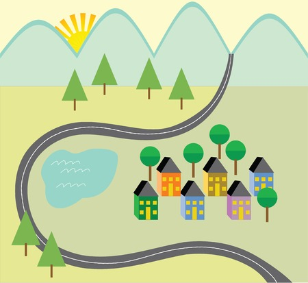 Colorful country neighborhood with road, trees, homes road, Stock fotó - 66545753