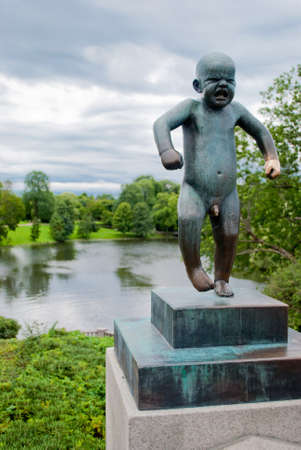 Crying child in Vigeland Sculpture Park, Oslo Stock Photo - 13558881