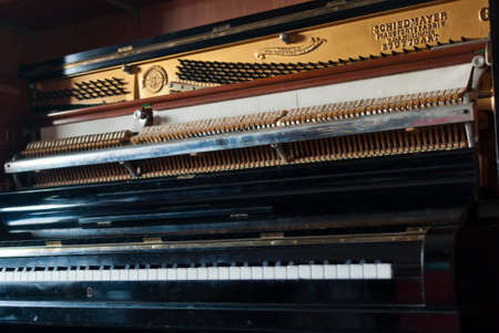 upright piano: Open upright piano mechanism