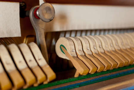 upright piano: Upright black piano hammer detail Stock Photo