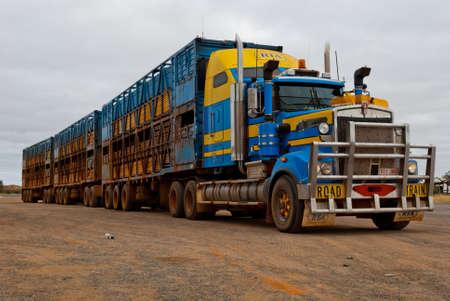 Road train travelling in the Australian desert