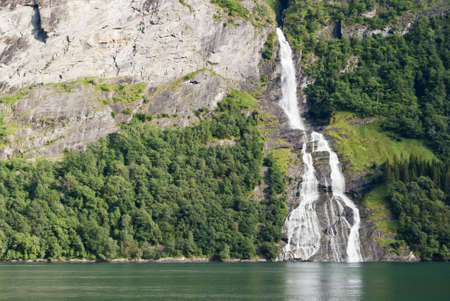 Geiranger Fjord waterfall, Norway photo