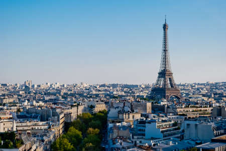 eiffel tower architecture: Eiffel Tower, Paris, panoramic view from Triumphal Arch