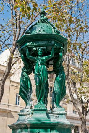 wallace: Wallace fountain detail, Paris Stock Photo