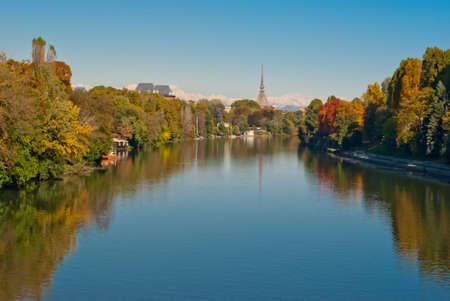 Turin (Torino), panorama with Po river and Mole Antonelliana
