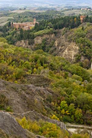 abbazia: Abbazia di Monte Oliveto Maggiore, Toscana, Italia Stock Photo