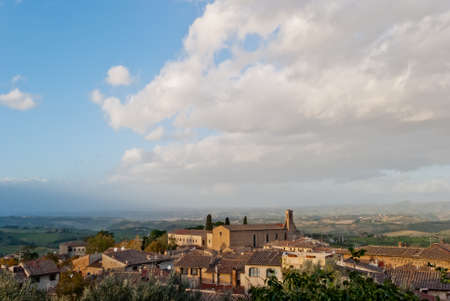 Panoramic view on Tuscan countryside from San Gimignano photo