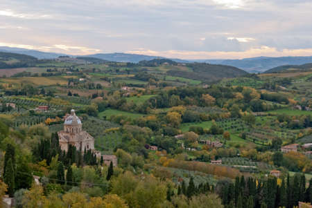 pictoresque: Montepulciano,panorama with St Biagio Cathedral, Tuscany Stock Photo