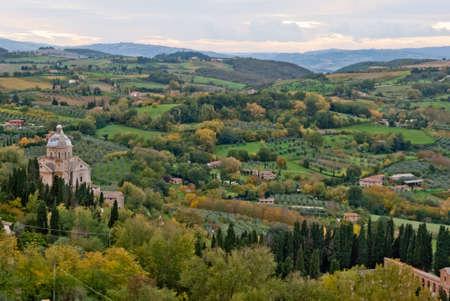 montepulciano: Montepulciano,panorama with St Biagio Cathedral, Tuscany Stock Photo