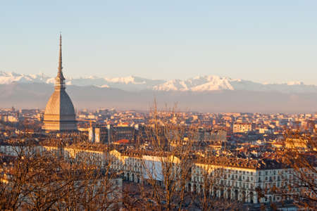 Turin (Torino), panorama at sunset with Alps and Mole