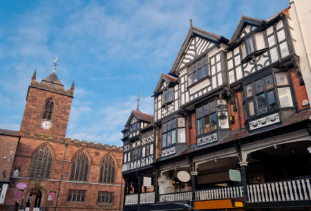 Chester, England, black and white building detail