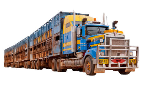 semitrailer: Isolated Australian Road Train on white