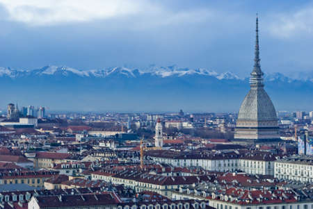 Mole Antonelliana with Alps mountains, Torino, Italy