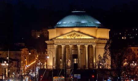 Torino, Gran Madre di Dio Church by night Stock Photo - 17947123