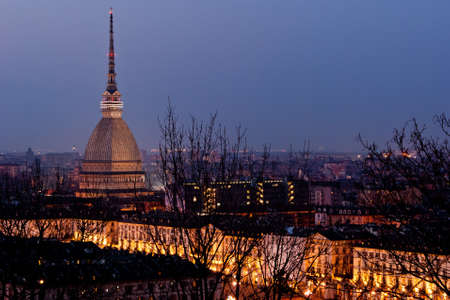 Torino, Mole Antonelliana and Piazza Vittorio by night Stock Photo - 17947125