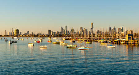 Melbourne skyline from St Kilda, Victoria, Australia photo
