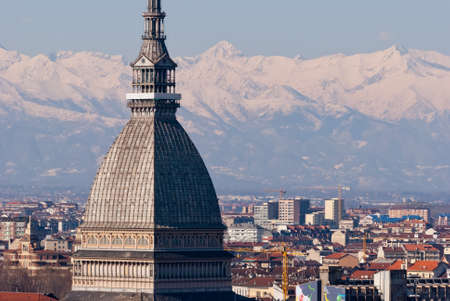 Torino, panorama with Mole Antonelliana and snowy Alps photo