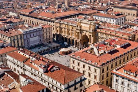 Florence, Piazza della Repubblica (Republic square) aerial view Stock Photo