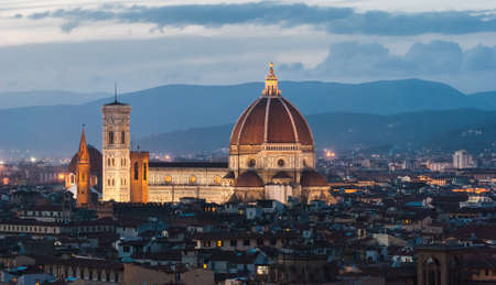 Florence, Cathedral, night panorama Stock Photo