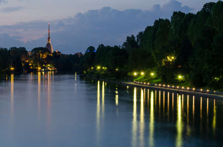 Turin (Torino), night view with river Po and Mole Antonelliana photo