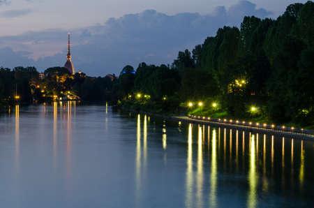 Turin (Torino), night view with river Po and Mole Antonelliana Stock Photo