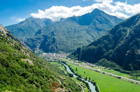 bard: Bard and Fort Bard, Aosta Valley, Italy Stock Photo