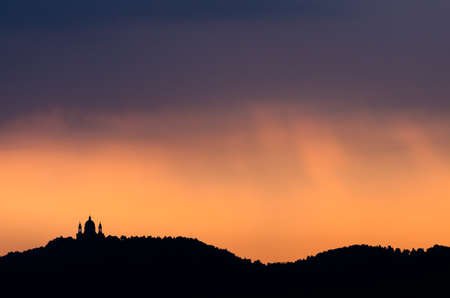 Turin, Basilica of Superga and hill at dawn photo
