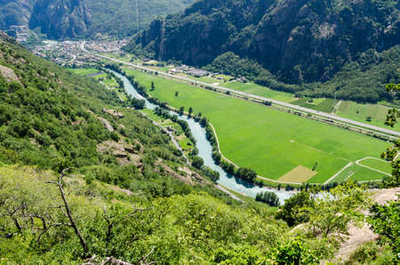 dora: Fort Bard and Dora Baltea river, Aosta Valley, Italy Stock Photo