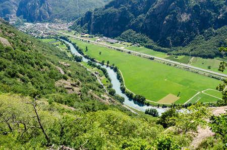 Fort Bard and Dora Baltea river, Aosta Valley, Italy Stock Photo - 20749706