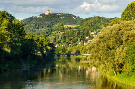 Turin, panorama with river Po and Basilica of Superga Stock Photo