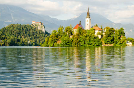 bled: Lake Bled, island and Castle, Slovenia Stock Photo