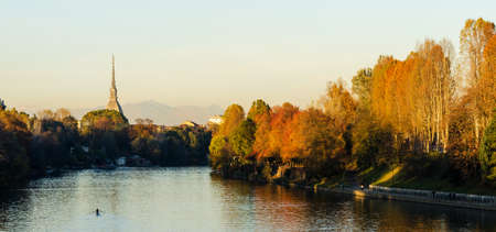 Turin  Torino , panorama with Mole Antonelliana and river Po photo