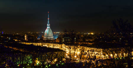 Turin  Torino , night panorama photo