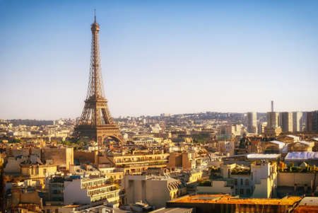 Eiffel Tower, Paris, panoramic view from Triumphal Arch photo