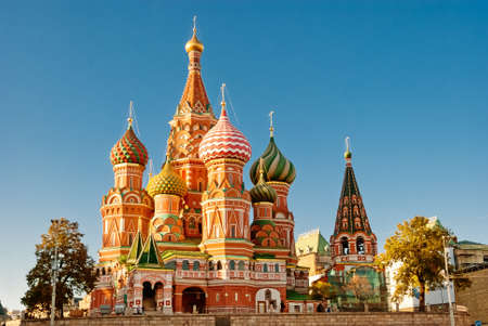 moscow churches: St. Basil Cathedral, Red Square, Moscow Stock Photo
