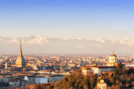 Turin  Torino , panorama at sunset photo