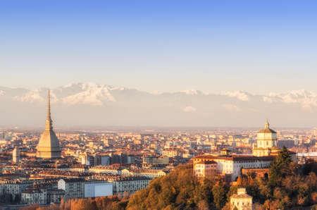 Turin  Torino , panorama at sunset Stock Photo