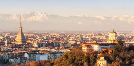 piedmont: Turin  Torino , panorama at sunset Stock Photo