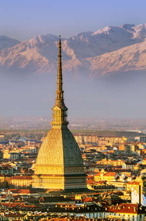 Turin (Torino), Mole Antonelliana and Alps photo