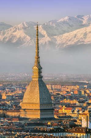 Turin  Torino , Mole Antonelliana and Alps