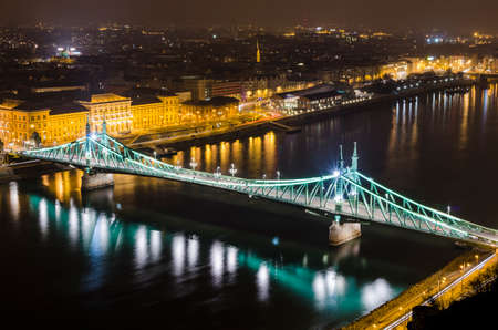 elisabeth: Budapest, night panorama with Elisabeth Bridge