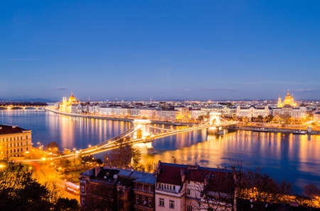 Budapest, panorama at night photo