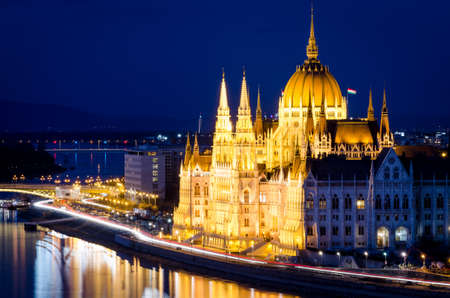 Budapest, Parliament building at night photo
