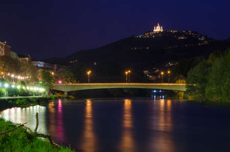 Turin (Torino), river Po and Superga, blue hour photo