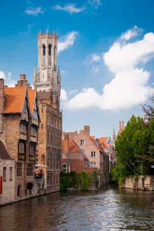 Rozenhoedkaai  Quai of the Rosary , and Belfry Tower, Bruges, Belgium photo