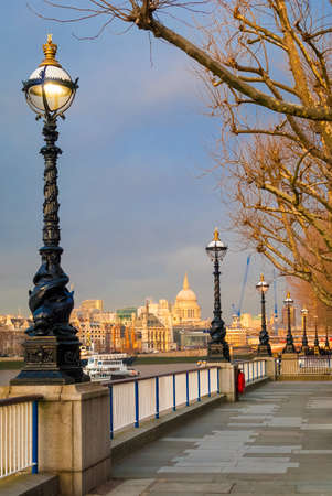 London, Sunset on St Paul Cathedral from Southbank photo