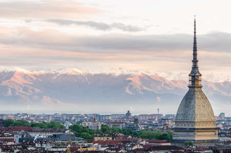Turin (Torino), panorama at sunrise with Mole Antonelliana