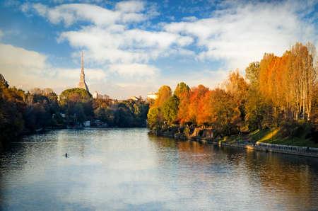 Turin (Torino), panorama with river Po and Mole Antonelliana 免版税图像