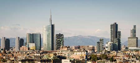 Milano (Italië), skyline met nieuwe wolkenkrabbers Stockfoto